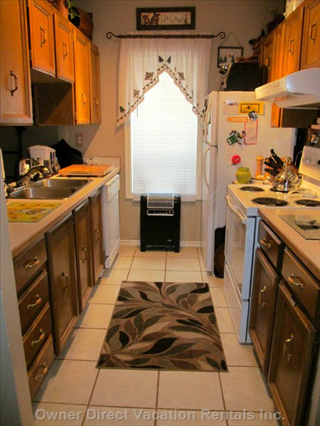 Fully Equipped Galley Kitchen with Convection Oven. This Kitchen is Fully Stocked with all Cooking Ware and Accessories. It has it all!