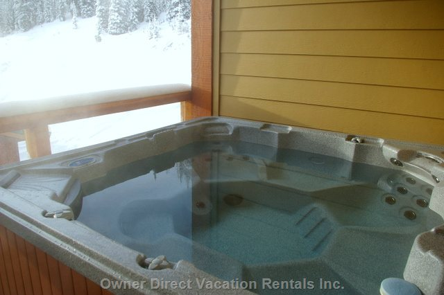 Hot Tub on Balcony Looking at the Ski Run.