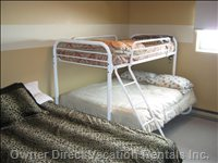 Comfortable Queen Bed with Single/Double Bunk - Second Bedroom Includes Queen with Single/Double Bunk with TV and Game System.