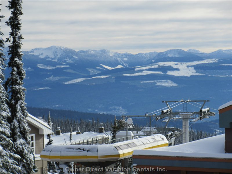 The Monashee Mountains from Left Hand Side of our Balcony, with the Gondola in Foreground.