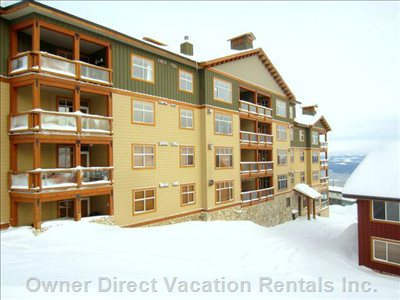Side View as Seen Form the Ski Hill to the Rear, 2nd Balcony from the Bottom in the Centre, the Right Side