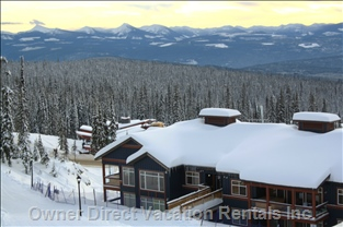 Unit from outside - I AM Standing on the Ski Run Looking at our Unit, Also Showing Private Hot Tub.