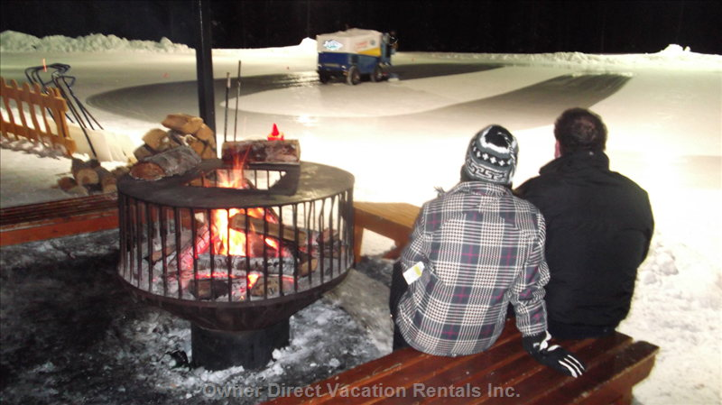 Fire Pit at Outdoor Skating Rink - Roast Marshmallows Or Warm up after Skating at the Outdoor Skating Rink.