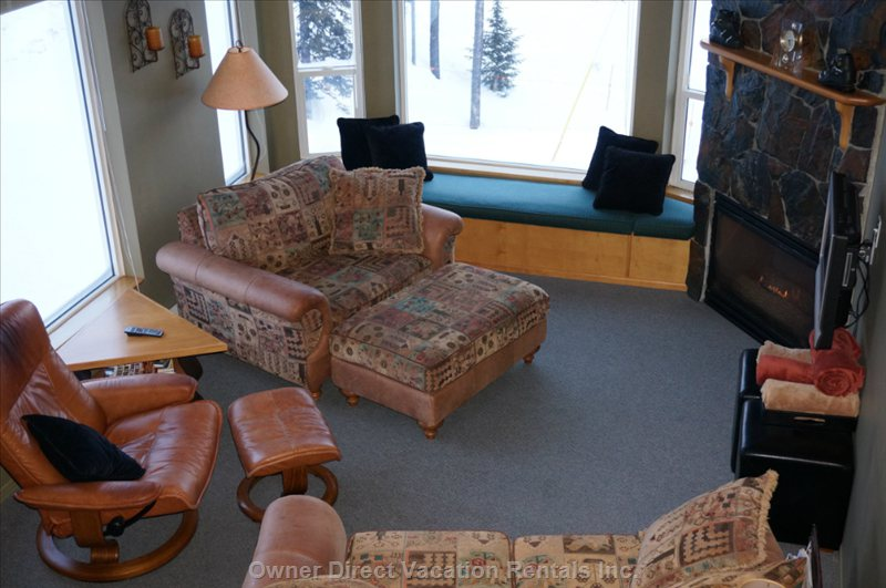 Living Room - Cozy Room with Great Views of Monashee's from Front and Side Windows.