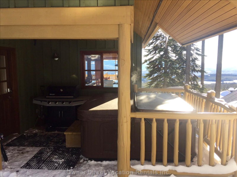 Private Rear Deck with Hot Tub and Barbecue.