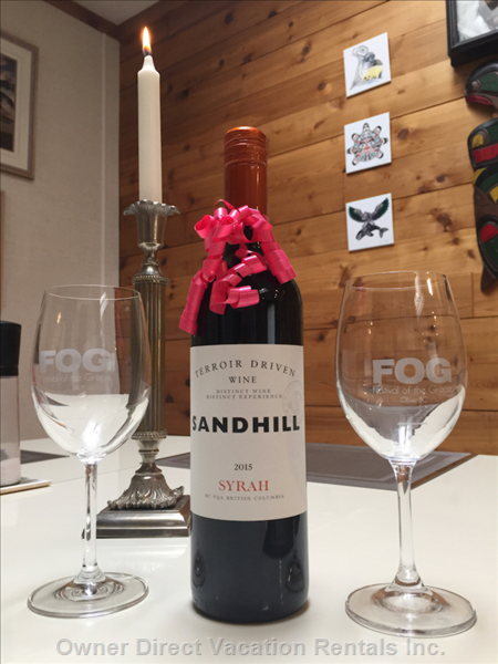 A Quality Bottle of Wine for our  Guests to Enjoy.