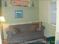 Cozy Ground Floor Bedroom with Comfy Pullout, Sleeps 2, has View of Monashee Mountains