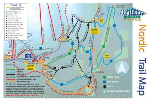 Nordic Trail Map for Snowshoe Adventures and Cross Country Skiing - you Can Download a Larger Image at BIGWHITE.COM.