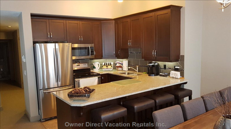 Modern Kitchen with Large Fridge, Icemaker, Convection Oven, plus Electric and Induction Burners.  Seating for 5 at Kitchen Counter