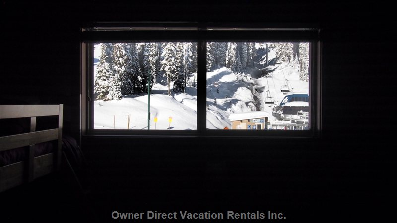 View out the Bedroom Windows to the Bullet Chair Directly across the Road. Night Skiing and Mountain Biking!