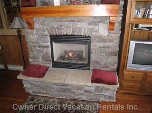 Fireplace with Natural Stone Surround.