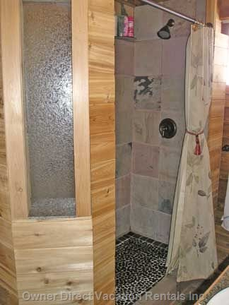 2 Person Walkin Shower - Slate Tiled Shower with Unique Pebble Base in Bathroom with Heated Tile Floor