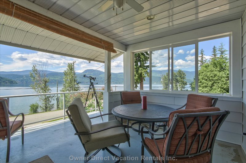 Covered Sun Deck with Lake, Island and Mountain Views for those Hot Summer Days!