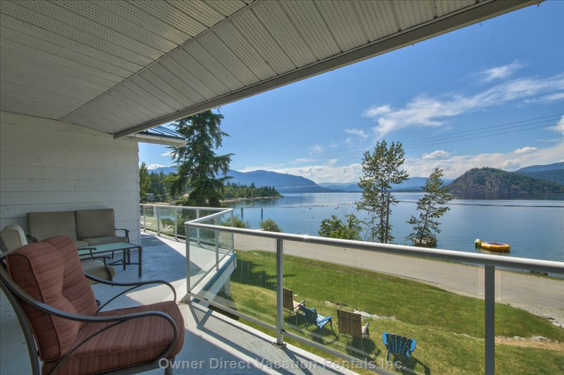 Full Length Covered Sun Deck with Panoramic Lake Copper Island and Beach Views!!