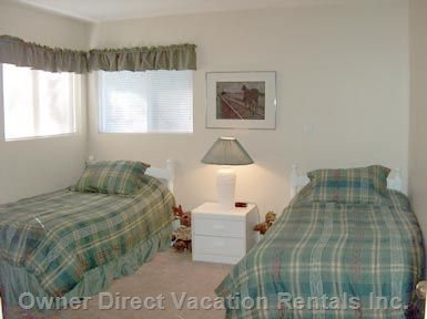 Second Bedroom with 2 Twin Beds & Dresser