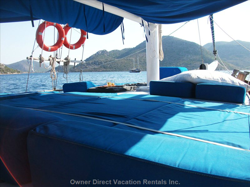 8 Sunbeds  - Located at the Front of the Boat, Can be Partly in Sun Or Shadow