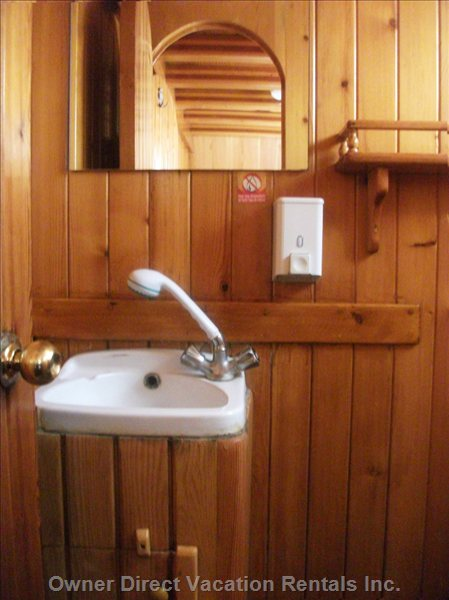 Private Bathroom with Sink, Toilets and Shower with Hot Water