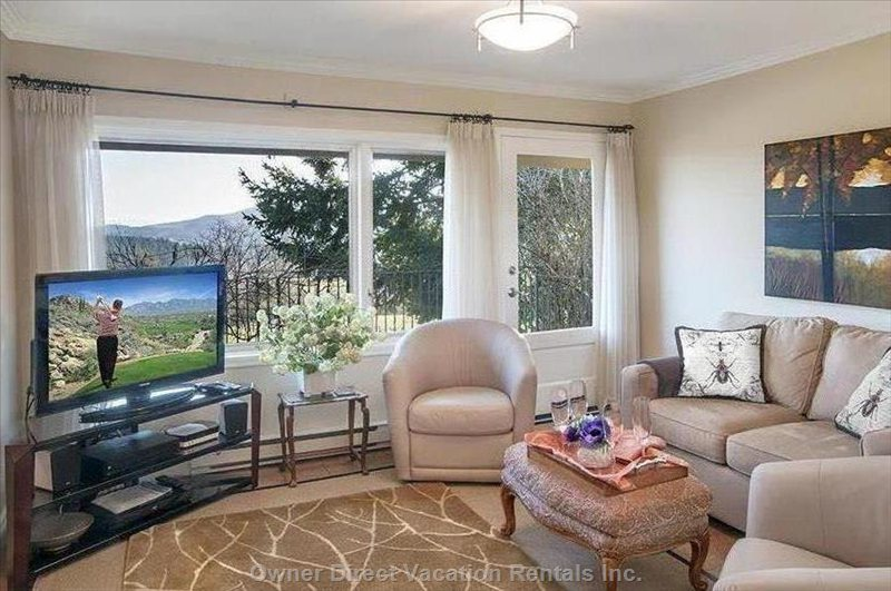 Your Comfortable Living Room with Amazing Views  and Opening onto your Private Patio