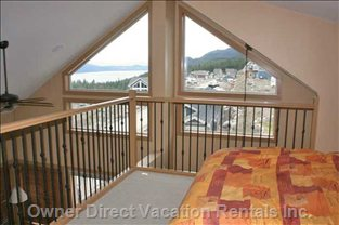 Loft Window View - Loft Serves as 3rd Bedroom and has a Queen Bed with Great View of Lake!