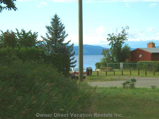 View from Deck, 95 Steps and you are Ankle Deep in Okanagan Lake