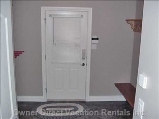 Large Private Entry with Indoor Ski/Board Storage