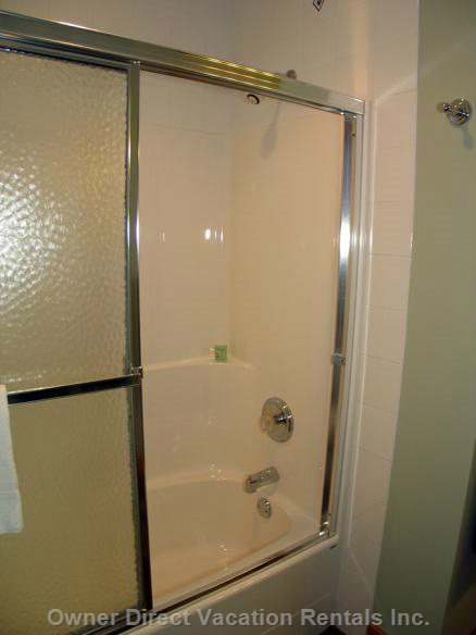 Downstairs Bathroom has a Shower/Tub Combo