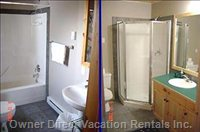 2 Bathrooms: Ensuite with Shower & Tub, other with Shower