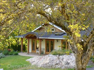 A View of the Guesthouse through the Black Walnut Tree