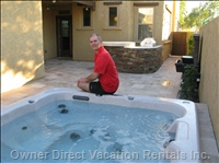 Spa/Hot Tub, Built-in Bbq Island, Fountain and Travertine Tiles Make this a Wonderful Outdoor Space