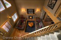 Great Room Viewed from the Loft with 23 Foot Pine Vaulted Ceilings