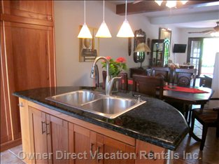 Signature Half Round Island with Granite Top High End Imported Fixtures