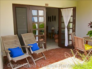 Enjoy Breakfast on your Furnished Garden Patio with Ocean and Garden Views