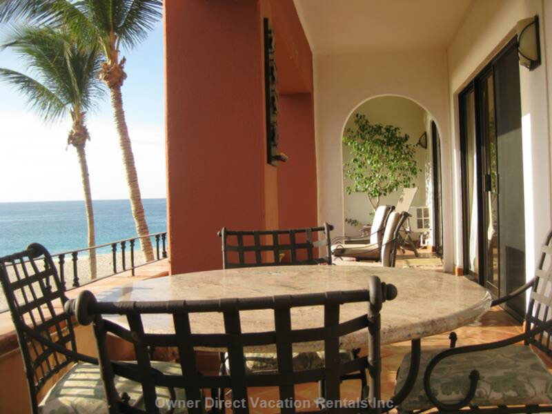 View from the Private Balcony - Huge Private Balcony with Dining Table and Chaise Lounge Chairs