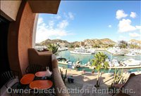 Outdoor Patio Dining Overlooking Marina and Entrance to Sea of Cortez