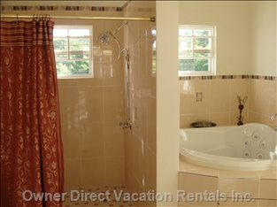 Master Shower and Jacuzzi - this Caption Shows a Partial View of the Extra Large Walk in Shower and Adjoining Jacuzzi.  both Make up the Master Bathroom with Dual Sinks, Mountain and Courtyard Views, Separate Private Toilet, Large Linen Pantry.  Shower Easily Accommodates Two Persons While the Jacuzzi Provides Plenty Room for a Romantic, Candle Lit Soaking.