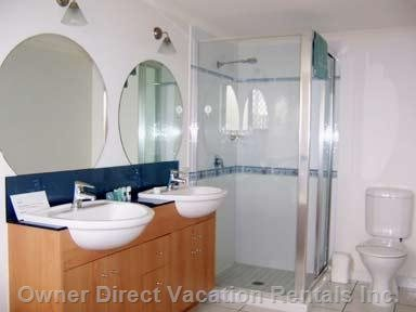 Ensuite with Twin Vanities, Spa Bath and Separate Shower