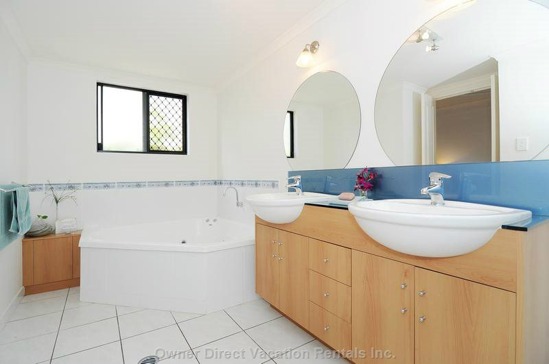 Ensuite with Spa, Twin Vanities and Separate Shower