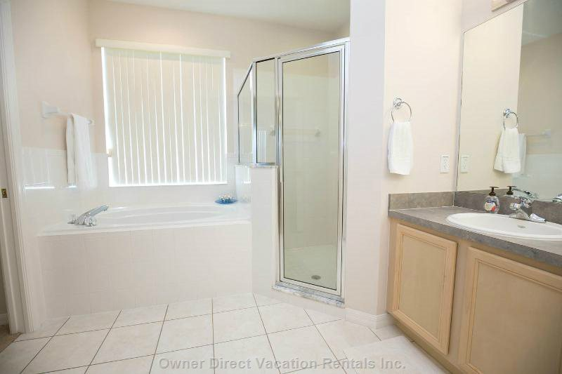 Master Bedroom #1 Ensuite with Walk in Shower & Soaker Tub