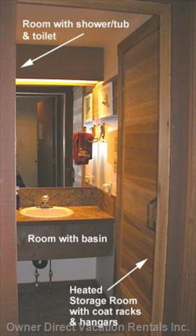 Bathroom Area W/Storage Room on Right Side