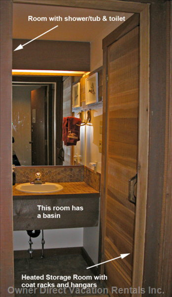 Bathroom Area with Storage Room on Right Side