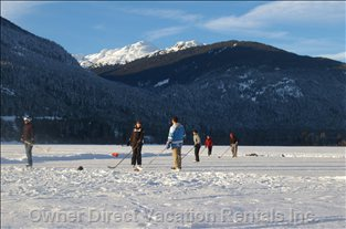 Winter Play on the Alta Lake Just off our Back Deck!