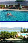Pool and View of Lake Okanagan and Happy Smiling Guests