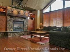Lounge Area - Vaulted Ceilings, Stone Fireplace, Views