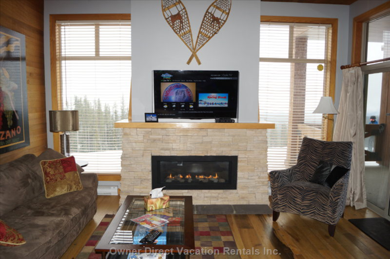 "Living Room Fireplace and 50"" Flat Screen Tv"