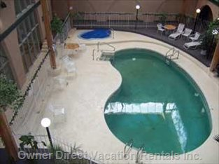 View of the Pool and Hot Tub from the Balcony.