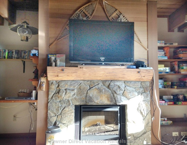 "46"" Tv. Cozy Electric Fireplace Added Oct-14. Controlled by Remote."