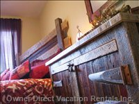 Antique Barn-Wood in Second Bedroom Reflect Old World Charm