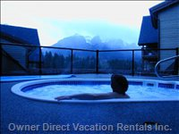 Outdoor Hotub with View of Rundle Range