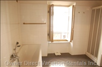 The Full Size Bathroom Upstairs with Separate Bath and Walk in Modern Wet Area Shower