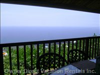 Panoramic Ocean Views from the Lanai-1000 Ft Wrap around Lanai with Barbeque Gas Grill and Comfortable Dining Area